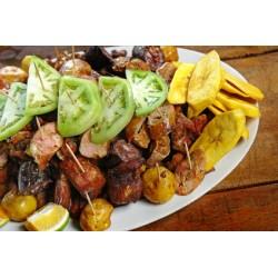 Brochettes de porc Chicharron marinade indienne